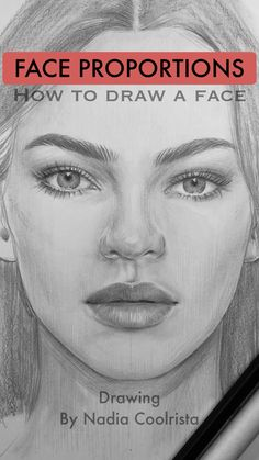 How to draw a face. Face Proportions by Nadia Coolrista This drawing took me 1 hour to draw. I made this face up without any references. I just used the Face Proportions Guide I made for myself and you. (You can find it in my boards with the drawings) Girl Drawing Sketches, Art Drawings Sketches Simple, Pencil Art Drawings, Realistic Drawings, Drawing Faces, Sketches Of Nature, Drawing Men Face, Face Proportions Drawing, Human Face Sketch