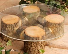 Rustic Wedding Log Table Number Stand Place Card by thatfamilyshop