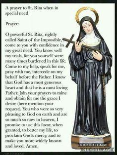 Prayer to Saint Rita Praying The Rosary Catholic, Catholic Prayer For Healing, Catholic Beliefs, Catholic Prayers, Catholic Saints, Christianity, Catholic Marriage, Catholic Art, Saints