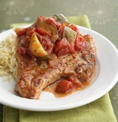 Crockpot Italian Pork Chops-This is a Weight Watchers 7 Points+ recipe with vegetables and orzo. Makes 6 servings.