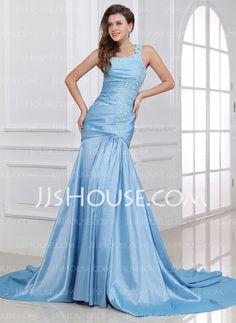 Evening Dresses - $139.49 - Mermaid One-Shoulder Chapel Train Taffeta Evening Dress With Ruffle Lace (017017327) http://jjshouse.com/Mermaid-One-Shoulder-Chapel-Train-Taffeta-Evening-Dress-With-Ruffle-Lace-017017327-g17327
