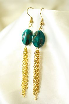 Green and Gold Chain Dangle Earrings by ConceptAna on Etsy, $13.00