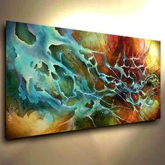 Abstract Painting Modern Contemporary original Art Decor Mix Lang cert. unique #ArtDeco Más