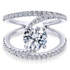 Shop Gabriel & Co. 14 Karat White Gold Contemporary Style Split Shank Engagement Ring for a Center Stone size 6 at SVS Fine Jewelry Split Shank Engagement Rings, Rose Gold Engagement Ring, Engagement Jewelry, Engagement Ring Settings, Diamond Wedding Bands, Diamond Rings, Solitaire Rings, Wedding Rings, Diamond Jewelry