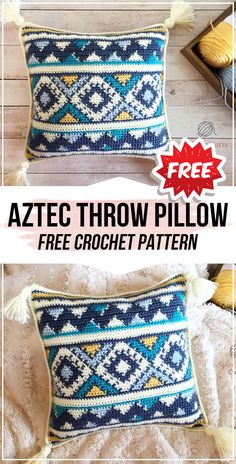 crochet Aztec Throw Pillow free pattern - easy crochet pillow pattern for beginn. : crochet Aztec Throw Pillow free pattern – easy crochet pillow pattern for beginners Cushion Cover Pattern, Crochet Cushion Cover, Crochet Cushions, Crochet Pillow Covers, Crochet Pillow Patterns Free, Tapestry Crochet Patterns, Free Pattern, Pattern Ideas, Crochet Home
