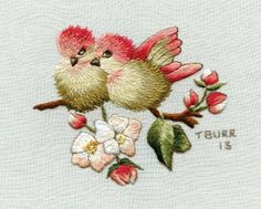 """Our newest Trish Burr design/kit from South Africa entitled """"Finches & Apple Blossom"""". My favorite!"""