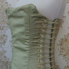 Green faux silk overbust corset small
