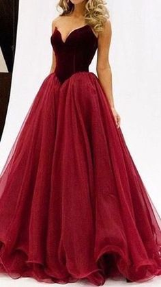 4f93308e9dc wine red sweetheart satin + tulle princess prom dress from Sweetheart Dress  2016 elegant