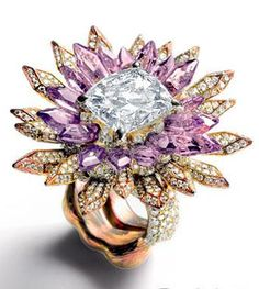 Wallace Chan. Diamonds, Rose Gold, Amethysts, Cushion Cut Diamond Main ...