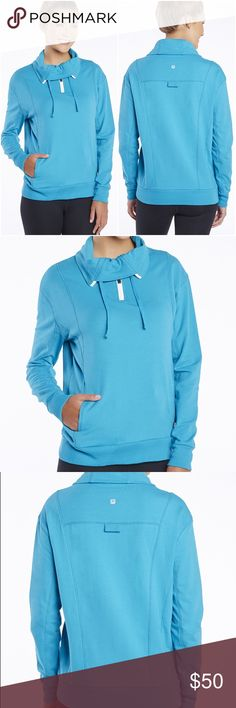 Fabletics kingston pullover Kingston pullover by Fabletics in bright teal color. Styling: Convenient Front Pockets, Cozy French Terry Fabric. Fit: Relaxed. Length: Below Hip. Fabric Content: 95% Cotton/5% Elastane. New with tags, unused. Fabletics Jackets & Coats