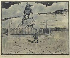 Alexandre Benois (1870-1960),  illustration for The Bronze Horseman: By the monument in the moonlight, 1916