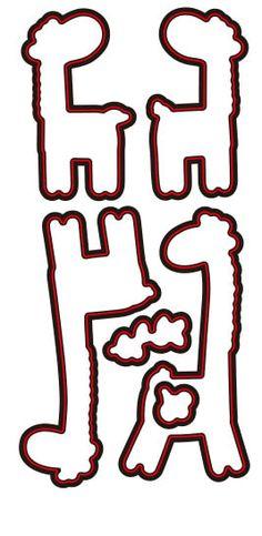 Stamp & Die Set Cartoon Giraffes x 4 Set Ali Express