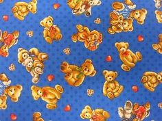 Bears on Blue Fabric / Bear Hugs Tossed Fabric / Teddy Bear Fabric / Fabri-Quilt 112-29422  / Fat Quarters and Yardage by SewWhatQuiltShop on Etsy