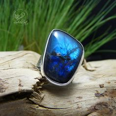 Blue Labradorite Ring Boho Statement Ring Labradorite