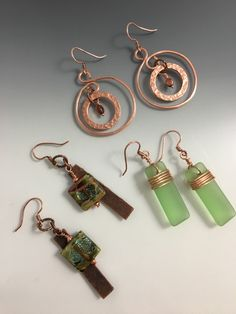 Hammered copper with borosilicate beads, Czech glass beads and sea glass.