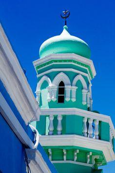 ケープタウン、ボカープ地区。イスラム教の教会、モスク!鮮やかなエメラルドグリーン!