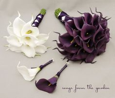 Real Touch Calla Lily Bridal Bouquet Groom's Boutonniere Eggplant Purple Bridesmaid Bouquet Best Man Boutonniere White
