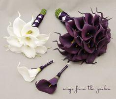 Real Touch Calla Lily Bridal Bouquet Groom's Boutonniere Eggplant Purple Bridesmaid Bouquet Best Man Boutonniere White