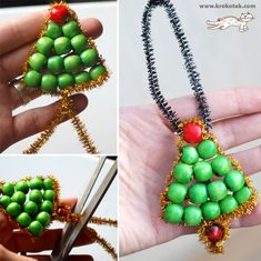 beaded Christmas tree (this blog is not in English, but you can figure out how to do this with the pictures)