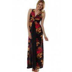 Floral design sheer black panel maxi dress