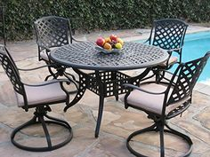Kawaii Collection Cast Aluminum Outdoor Patio Furniture 5 Piece Dining Set With 4 Swivel Rockers Mlv120t Cbm1290 Review
