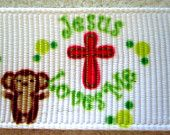 7/8'' Jesus Love Me Grosgrain Ribbon w/mouse
