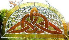 "Celtic Knot Suncatcher Design - Gold Stained Glass 9"" x 17"" - $64.95 --- Celtic Designs, Irish Designs, Irish Sun Catchers - Glass Suncatchers, Stained Glass Décor, Stained Glass Sun Catchers -  Stained Glass Design - See more stained glass designs at www.AccentonGlass.com"