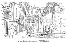 Sketch of tourist at the backside street of Ancient Roman building Pantheon temple, Rome, Italy. Hand drawn linear vector illustration, January 03, 2018