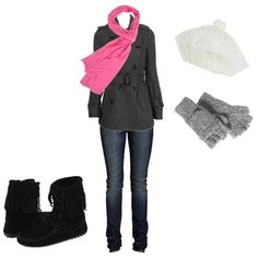 Neutral with a splash of color.  Gray belted wool coat, fringe boots, gray gloves, white hat, pink scarf.  Product Information: Boots – Minnetonka – $55.95 at Zappos.com, Scarf – $9.80 at Forever 21, Coat – $39.80 at Forever 21, Jeans – $24 at H&M, Hat – $12.99 at Charlotte Russe, Gloves – $10 at American Eagle