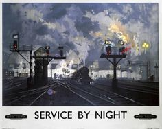 Original oil painting by David Shepherd for a British Railways (BR) poster, showing a rail junction at night, with signal gantries and steam locomotives. Description from ssplprints.com. I searched for this on bing.com/images