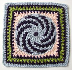 Spiraling spring crochet afghan square block Free pattern link on Ravelry