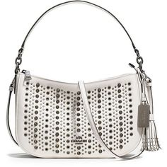 COACH Chelsea Allover Studs Leather Crossbody Bag ($395) ❤ liked on Polyvore featuring bags, handbags, shoulder bags, apparel & accessories, chalk, white leather purse, coach purses, white leather shoulder bag, leather crossbody handbags and leather cross body purse