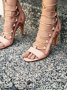 Dusk To Dawn Lace Up Heel | Lace-up open toe leather heels.  Exposed zip back for an easy on-off.  Padded footbed for extra comfort.  *By Sixty Seven