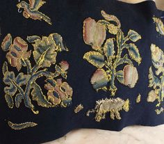 Embroidered Jacobean Slips Stumpwork Flowers Cow Birds Insects | eBay