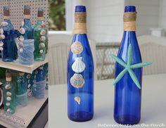 Reciclagem bonita, de bom gosto que encontrei no Pinterest  .  Garrafas de vidro, um material lindo, verdadeiro tesouro.... mais conchinhas,...