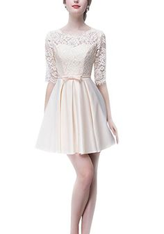 Suzhou Laidisi Womens Half Sleeves Taffeta Scoop Sash Short Bridal Dress Champagne US8 ** You can get additional details at the image link.