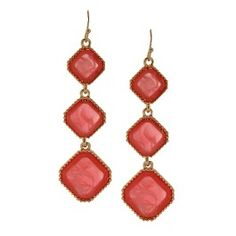 Women's Drop Earring with Stones - Gold/Pink
