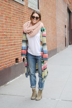Striped Sweater + oversized cowl scarf