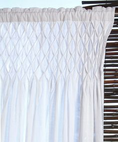White Smocking Curtain Panel by Tuscan Accents on #zulily today!
