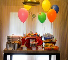 This was our food set up. It was a little full, but I wanted to include all the themed food. First up.. Elmo's Pizza  Super Grover's Super V...
