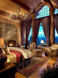There are numerous ways to make your home interior design look more interesting, one of them is using cabin style design. With this inspiring gallery you can make fantastic cabin style in your home. Log Home Bedroom, Cozy Bedroom, Lodge Bedroom, Dream Bedroom, Log Cabin Bedrooms, Lux Bedroom, Bedroom 2018, Bedroom Windows, Rustic Cabin Master Bedroom