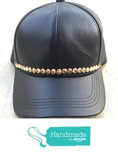 separation shoes 00efc ab3df Black Trucker Cap Women s Genuine Leather Hat With Gold Swarovski Crystal s  by It s Crystalicious from It s