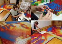 Rubik's cube art. WTF?! People are awesome..