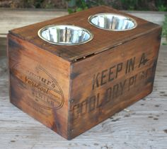 stainless steel removable dog bowls in wooden crates Food Dog, Dog Food Recipes, Dog Food Stands, Vintage Wooden Crates, Vintage Box, Elevated Dog Feeder, Dog Food Storage, Diy Stuffed Animals, Dog Supplies