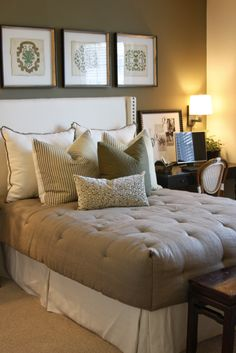 Master bedroom with neutral accent wall at Mirasol in #Irvine  http://www.rental-living.com/Communities/Mirasol/