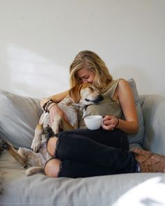 Best part of the day - snuggling with my beagle.