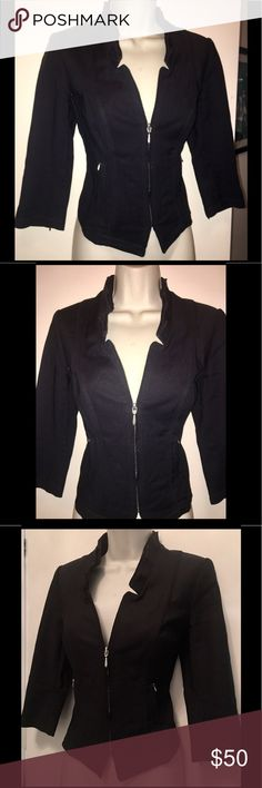 WHBM Black Cropped Fitted Cotton Blazer Jacket 2 White House Black Market. Black Cotton Fitted Blazer Jacket. Zipper detail. High fashion trim at neckline/collar. Cropped at back. Ultra flattering. Size 2. White House Black Market Jackets & Coats Blazers