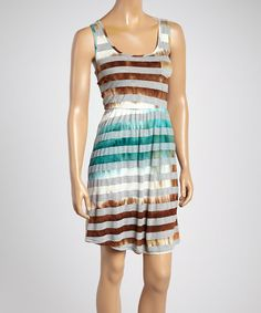 Take a look at the Brown Tie-Dye Stripe Sleeveless Dress - Women on #zulily today!
