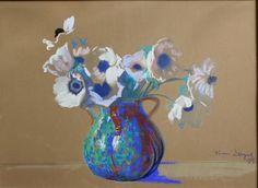 Leon Wyczółkowski(1852-1936) Anemony w wazonie(1924) sygn.dat.p.d. pastel,akw.pap. 47.5×65 54.000