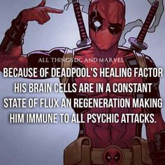 DeadPool is basically a running,talking,Zombie! DeadPool is awesome. Deadpool Facts, Marvel Facts, Marvel Memes, Marvel Dc Comics, Marvel Avengers, Deadpool Quotes, Deadpool Stuff, Spideypool, Comic Book Characters